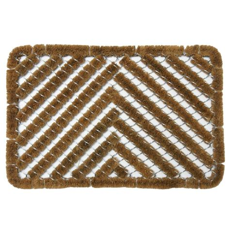 Coir Doormat by Rubber Cal Herringbone 18 In X 30 In Coir Boot