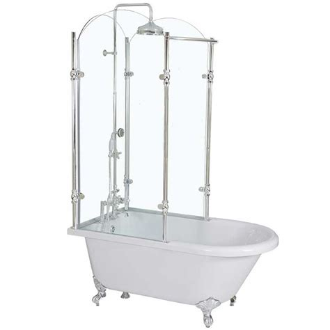 Bathtub Parts Accessories Acrylic Clawfoot Tub With Glass Shower Enclosure Cla