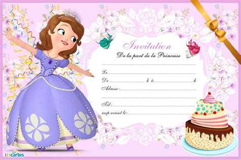 cartoon themes midi invitation anniversaire princesse 224 imprimer