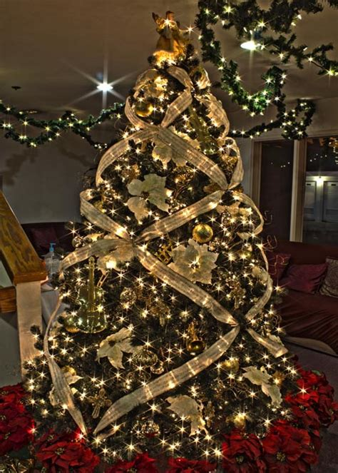 gold ribbons on christmas trees tree decorations 2018 celebration all about
