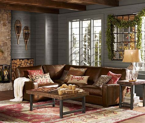 pottery barn living room love decorating pinterest this reminds me of the ski lodges i used to go to with my