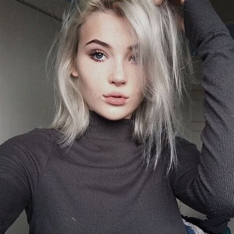 young women with gray hair violet silver hair on young aesthetic black and white eyebrows full lips girl