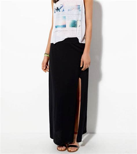 american eagle outfitters pink front slit maxi skirt