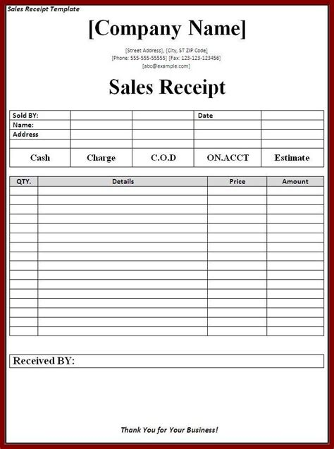 Numbered Receipt Template 4 Per Page by Sales Receipt Template Page Word Templates