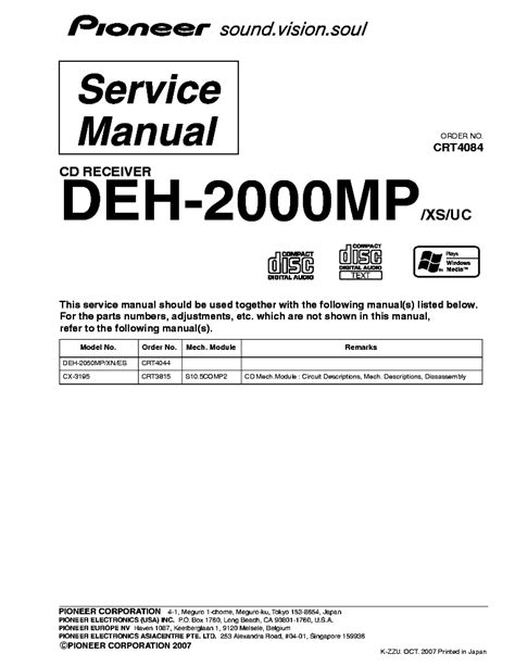 deh 2000mp wiring diagram pioneer deh 2000mp exploded views and parts list service manual schematics eeprom