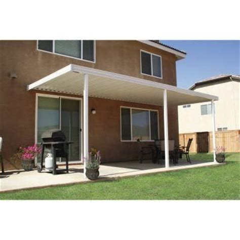 aluminum attached solid patio cover four seasons building products 20 ft x 12 ft white aluminum attached solid patio cover with 4