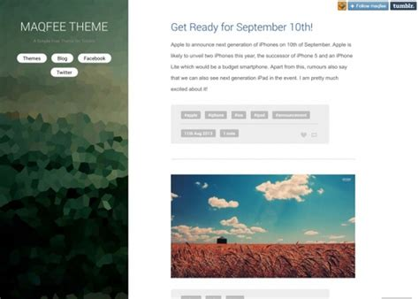 tumblr themes left sidebar 30 free tumblr themes with sidebar 2015 inspirationseek com