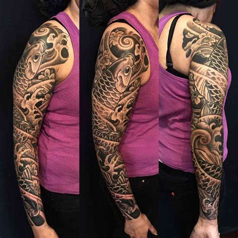scar cover up tattoos koi japanese full sleeve tattoo