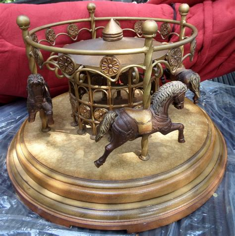 4 carousel coffee table 4 dk brown horses
