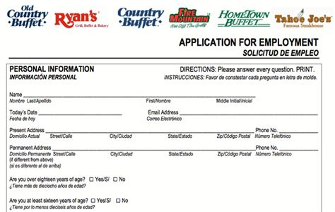 Country Buffet Application Old Country Buffet Application Online Print Job