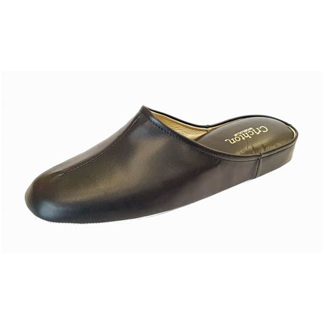 slipper mens gavin black leather mens slipper