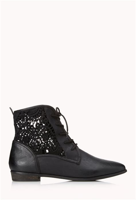 forever 21 shoes boots forever 21 rustic lace up boots in black lyst