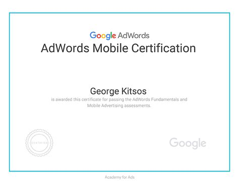 adwords mobile effectlab certifications adwords certificate