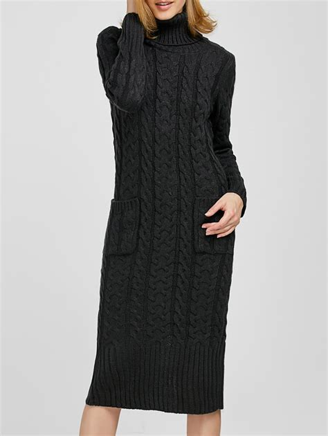 Turtleneck Cable Knit Dress turtleneck cable knit sweater dress in gray