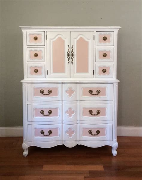 white and pink mid century armoire chest of drawers dresser