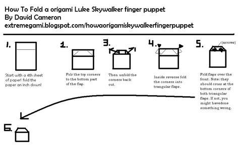 Origami C3po Finger Puppet - extremegami how to make a origami luke skywalker
