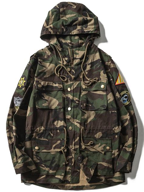 design camo jacket drawstring multi pocket patches design hooded camo jacket