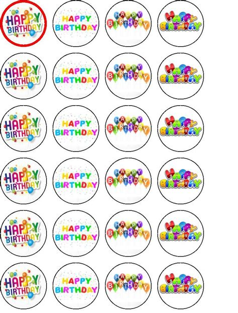 Cupcake Topper Happy Birthday Happy Birthday Cupcake Cake Toppers Edible Rice Paper 24