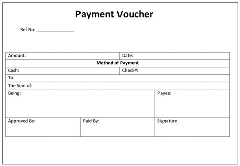 format of excel payment voucher template excel templates