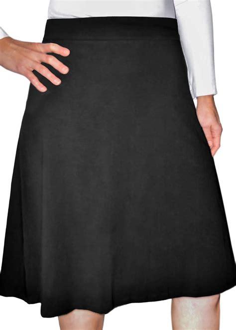 black a line cotton spandex knee length skirt modli