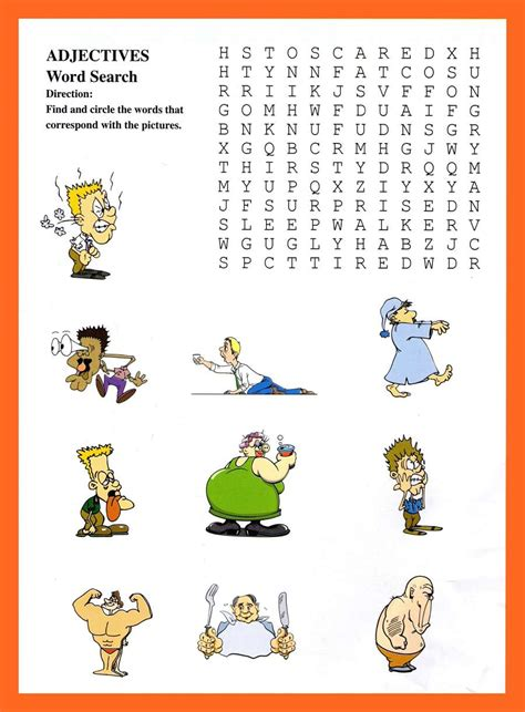 Deleware Search Adjectives Wordsearch For