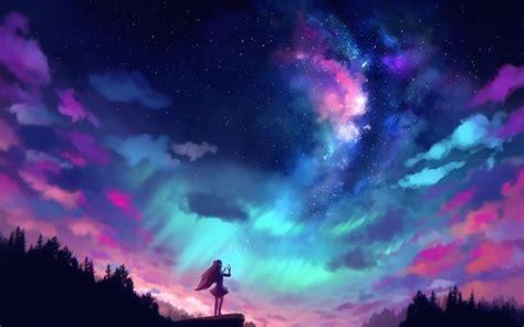 anime girl  colorful sky full hd wallpaper