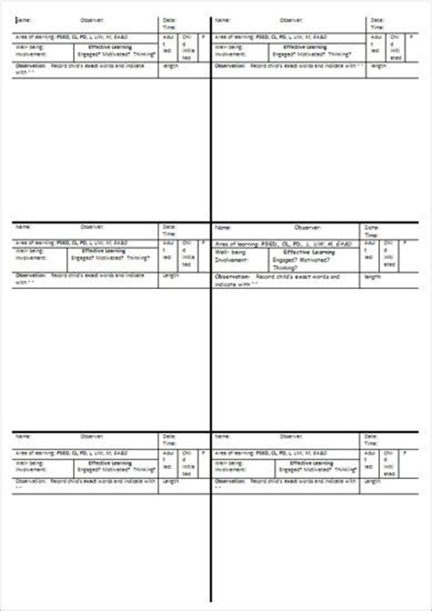 printable eyfs planning sheets eyfs short observation template resources pinterest