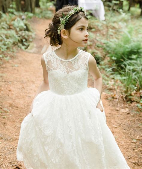 Wst 17981 White Flower Lace Swing Dress 1 ivory flower dresses for baby