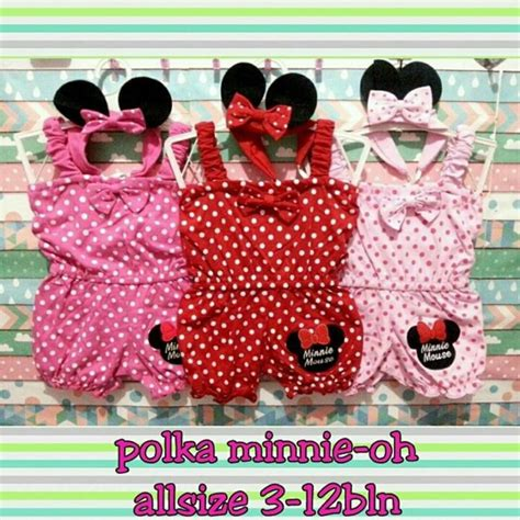 Jumper Baby Jumpsuit Bayi Perempuan Minnie Mouse Free Bandana Ok jual jumper jumpsuit baby bayi perempuan minnie mouse