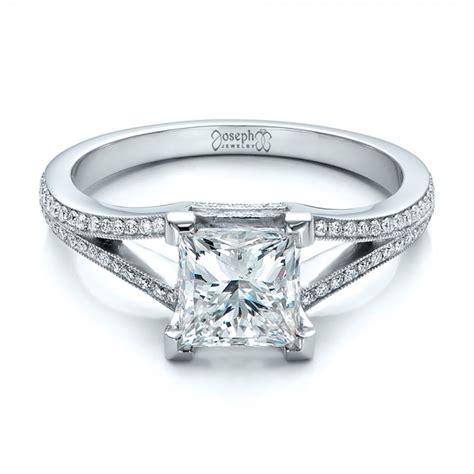 custom princess cut diamond  split shank engagement