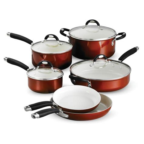 copper cookware set tramontina style ceramica 10 metallic copper cookware set with lids 80110 220ds the home