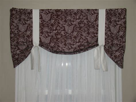 Chocolate Brown Valances window valance tie up valance chocolate brown and white