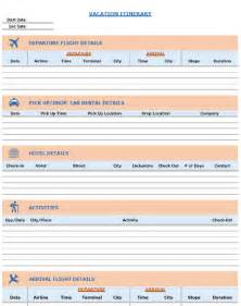 templates in excel vacation itinerary packing list template in excel