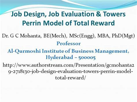 Business Administration Mba Phd Mba Jd Gc by Design Evaluation Towers Perrin Model Total Reward