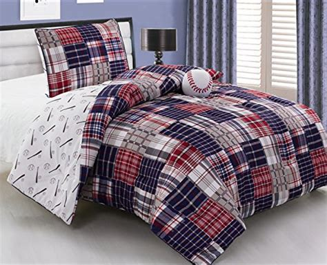 3 piece baseball sports theme plaid red white and blue
