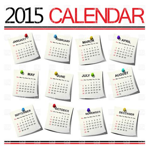 Month Of The Calendar Calendar For 2015 Year For All Months Royalty Free Vector