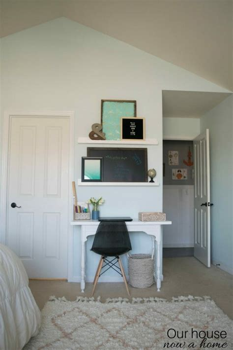 simple home office creating an office space in a bedroom adding function