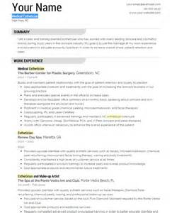 Resume Sles For Estheticians by Esthetician Resume Template Yourmomhatesthis