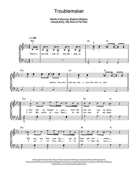 piano tutorial up olly murs troublemaker sheet music by olly murs easy piano 115904