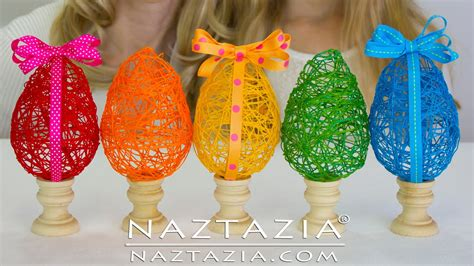 egg crafts diy learn how to make a string yarn thread egg easter