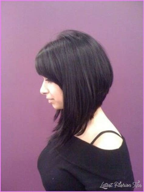 slanted hair styles cut with pictures angled bob haircut with bangs latestfashiontips com