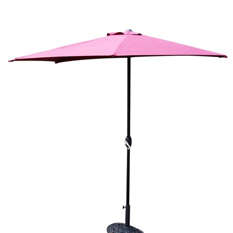 Patio Half Umbrella Half 5 Ribs 10ft Outdoor Patio Umbrella Wall Corner Umbrella Crank