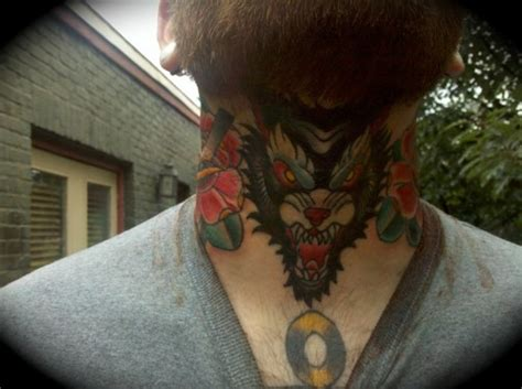 wolf neck tattoo 37 lovely wolf neck tattoos