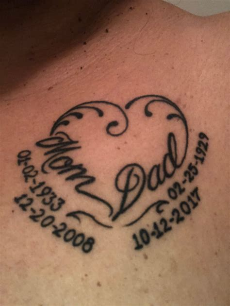 mom and dad tattoo in memory of dads