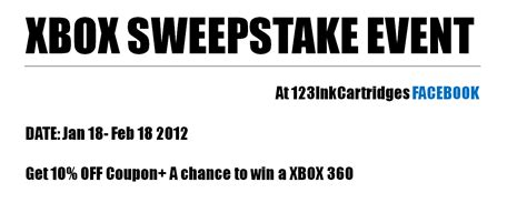 Xbox Contest Giveaway - facebook xbox sweepstake event jan 18 feb 18 2012 123inkcartridges canada