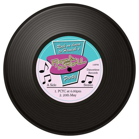 Roll Records Record Rock And Roll Invites Printed Cardstock Poster