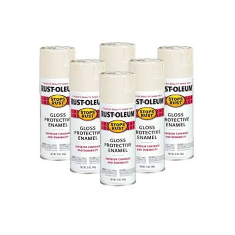 rust oleum stops rust 12 oz gloss antique white spray paint 6 pack discontinued 182810 the