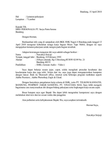 contoh surat lamaran kerja pt ben