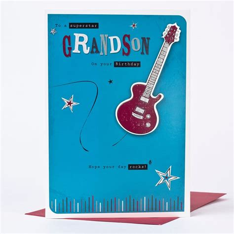 Grandson Birthday Card Birthday Card Grandson Guitar Only 163 1 49