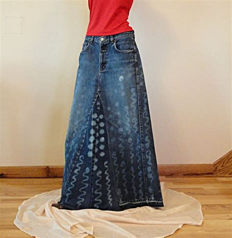 denim skirt made to order treated hippie